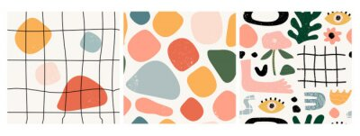 Sticker Set of three seamless patterns. Hand drawn various shapes and doodle objects. Abstract contemporary modern trendy vector illustration. Stamp texture. Every pattern is isolated