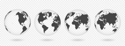 Sticker Set of transparent globes of Earth. Realistic world map in globe shape with transparent texture and shadow