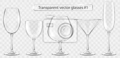 Sticker Set of transparent vector glass goblets for wine bar