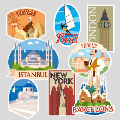 Set of travel stickers and cards. Different countries and cities. Vector illustration