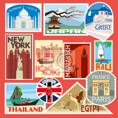 Set of travel stickers. World Capitals. Vector color graphics