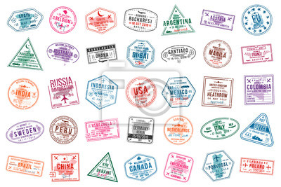 Sticker Set of travel visa stamps for passports. International and immigration office stamps. Arrival and departure visa stamps