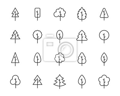 Sticker set of tree icons, leaf, natural