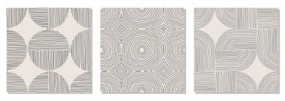 Sticker Set of trendy minimalist seamless pattern with abstract hand drawn composition