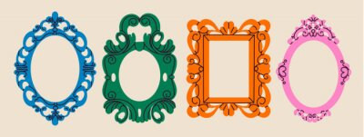 Sticker Set of various decorative Frames or borders. Different shapes. Photo or mirror frames. Vintage, retro design. Elegant, modern style. Hand drawn trendy Vector illustration. All elements are isolated
