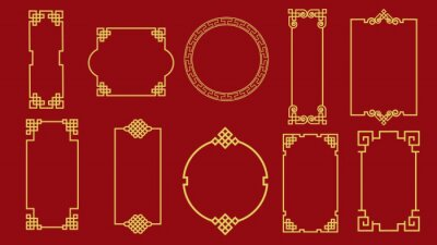 Sticker Set of various traditional golden china frame isolated on red background. Collection of different chinese retro border vector flat illustration. Yellow vintage decorative corner