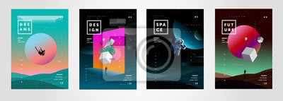 Sticker Set of vector abstract gradient illustrations,  backgrounds for the cover of magazines about dreams, future, design and space, fancy, crazy posters