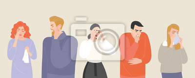 Sticker Set of vector illustrations of people suffering from various symptoms of the common cold and flu.