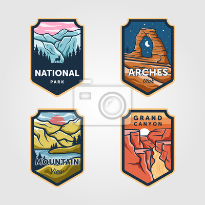 Sticker Set of vector national park outdoor adventure vintage logo emblem illustration designs