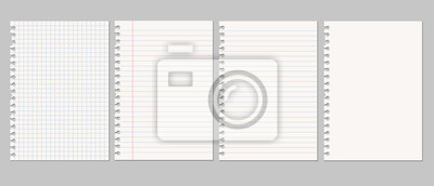 Sticker Set of vector realistic illustrations of a torn sheet of paper from a workbook with shadow, isolated