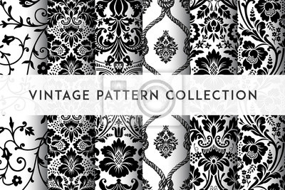 Sticker Set of Vector seamless damask patterns. Rich ornament, old Damascus style pattern for wallpapers, textile, packaging, design of luxury products - Vector Illustration