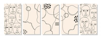Sticker Set of vertical abstract backgrounds or card templates in modern colors, in popular art style
