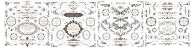 Sticker Set of Vintage Decorations Flourishes Elements.