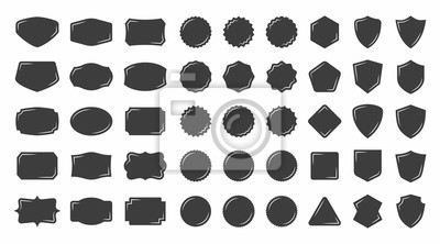 Sticker Set of vintage shape badge vector silhouette