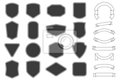 Sticker Set of vitage label, badges shape and ribbon baner collections. Vector. Black template for patch, insignias, overlay.