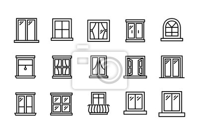 Sticker Set of window related vector line icons.