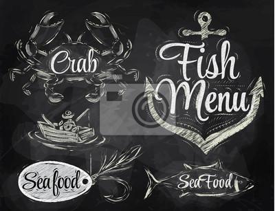 Set Sammlung von Meeresfrüchten und Fisch