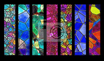 Sticker Set Streifen mit Glasmalerei