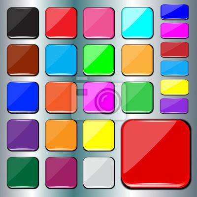 Set unbelegte bunte quadratische Tasten.