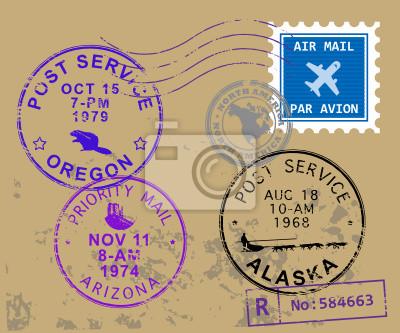 Set USA Briefmarke Symbole, Vektor-Illustration