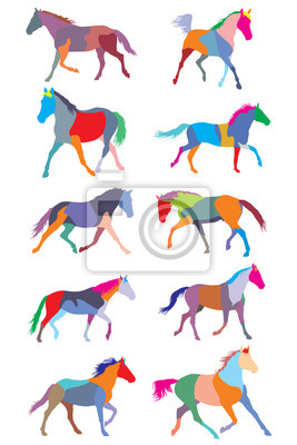Set vektor bunte traben pferde silouettes