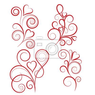 Sticker Set von abstrakten vertikalen floralen Wirbel mit Herz. Vektor-Illustration für Grußkarte.