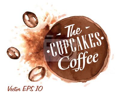 Set von Aquarell die Cupcakes Kaffee Abzeichen stilisierte Sammlung