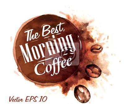 Set von Aquarell Kaffee die besten Kaffee am Morgen Badges collecti