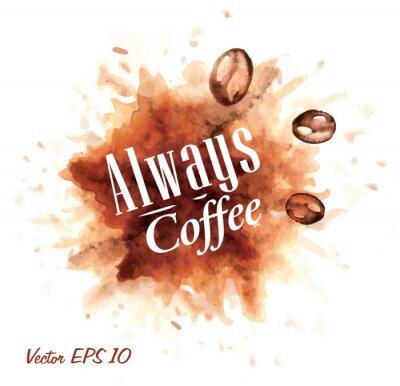 Set von Aquarell Kaffee immer Kaffee Abzeichen Sammlung stilisieren