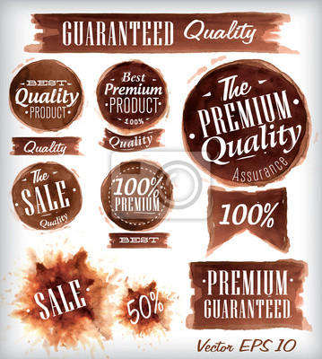 Set von Aquarell Old Premium Quality Abzeichen stilisierte Sammlung