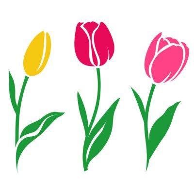 Sticker Set von bunten Tulpe Silhouette. Vektor-Illustration. Sammlung von dekorativen Blumen