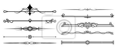 Sticker Set von dekorativen Elementen, Rand- und Seitenregeln Rahmen