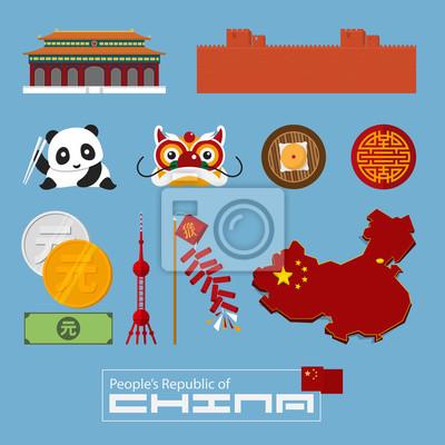 Set von flachen Icons der chinesischen Architektur, Essen, traditionelle Symbole. Abbildung.