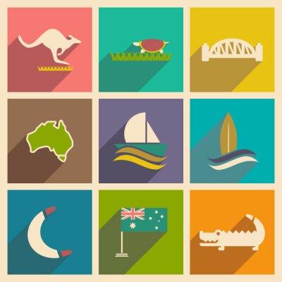 Sticker Set von flachen Icons mit langen Schatten Australian