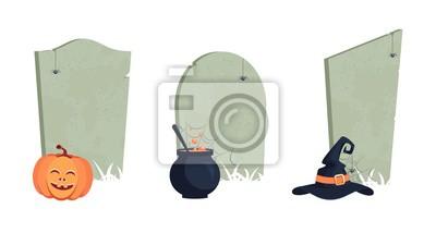 Set von Halloween-Gräbern.Traditionelle Symbole, niedliche Design-Elemente, orange Kürbis, magischen Kessel, Hexe Hut, Gräber und Spinnen. Vektor-Illustration.