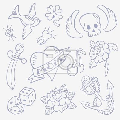 Set von Hand gezeichnet Old-School-Stil Retro Tattoo Sketches - Schlucken, Diamant, Schädel mit Flügeln, Glück Klee, Herz, Dolch, Zahn, Rose Blume, Würfel, Kirsche, Anker. Isoliert auf den hintergrund