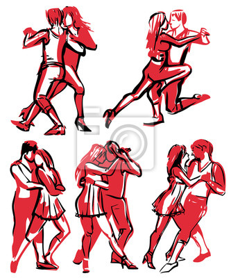 Set von Hand gezeichneten schnellen Skizzen von Tanzpaar in verschiedenen Posen
