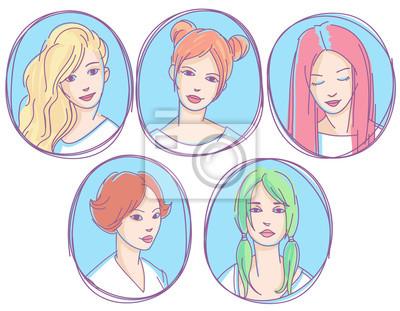 Set von Hand gezeichneten skizzenhaften Porträts, Avatare, Icons. Junge Frauen mit verschiedenen Frisuren