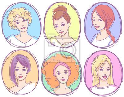 Set von Hand gezeichneten skizzenhaften Porträts, Avatare, Icons. Junge Mädchen mit verschiedenen Frisuren.
