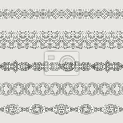 Set von ornamentalen Bändern. Nahtlose Muster Streifen. Silhouette