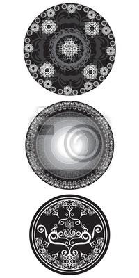 Set von Schwarz-Weiß-Mandala