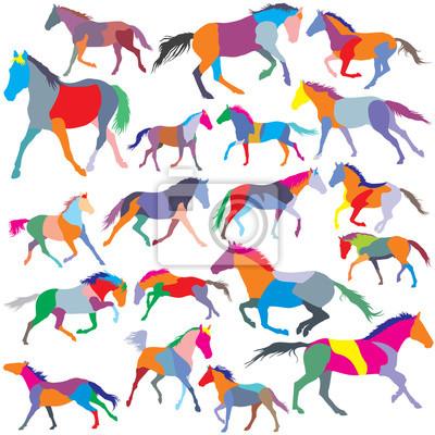 Set von Vektor bunte Traben und galoppierende Pferde Silhouetten