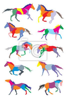 Set von Vektor-Pferde bunte Silouetten