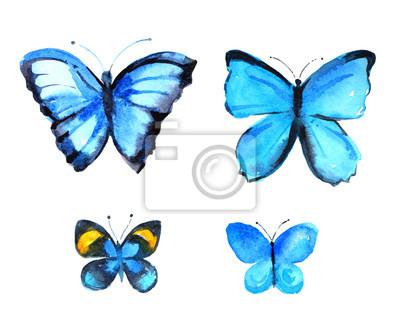Set von vier blauen Schmetterlinge, Aquarell Illustration auf weißem Hintergrund