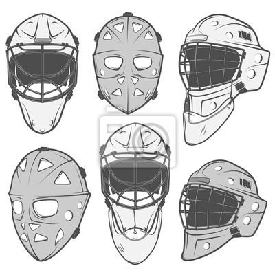 Sticker Set Von Vintage Eishockey Torhüter Helm Design Elemente Für Embleme