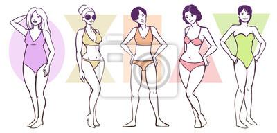Set von weiblichen Körperform-Typen - Apfel / abgerundet, Sanduhr, Rechteck, Dreieck / Birne, umgekehrtes Dreieck