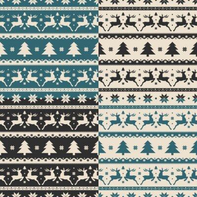 Sticker Set von Weihnachten und Neujahr nahtlose Muster