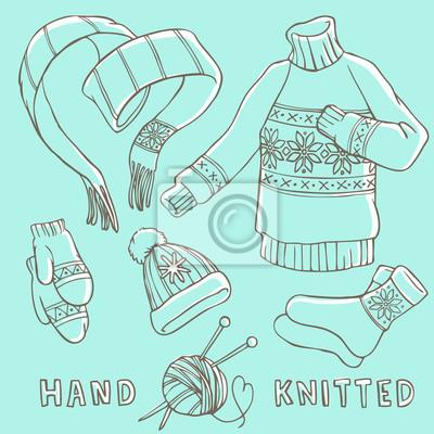 Set von Winter Hand gestrickte Kleidung - Schal, Pullover, Handschuhe, Hut, Socken.
