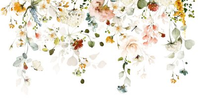 Sticker Set watercolor arrangements with garden roses. collection pink, yellow flowers, leaves, branches. Botanic illustration isolated on white background.