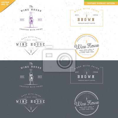 Set weinlese-wein-logo-design, hand halten flasche wein notebook ...